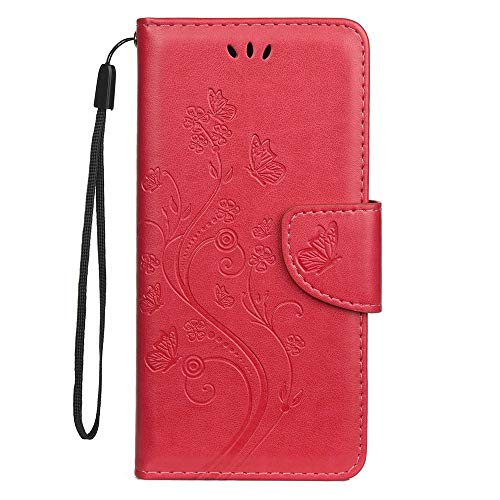 Sunrive Hülle Für BQ Aquaris X2/X2 Pro, Magnetisch Schaltfläche Ledertasche Schutzhülle Case Handyhülle Schalen Handy Tasche Lederhülle(Prägung Rote s) MEHRWEG
