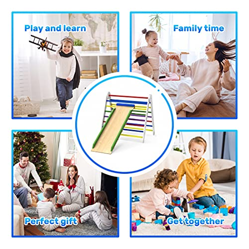 Pikler Triangle Climber with Ramp - Premium Wooden Climbing Triangle for Sliding and Climbing - 2 in 1 Stable Toddler Climber Structure - Indoor Kids Climbing Toys - Foldable Kids - TRIANGLE-COLOR