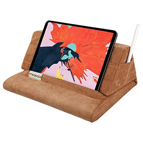 MoKo Soporte de Almohada para Tableta, Compatible con iPad Air 4/3 /2, iPad Mini 5th Gen, iPad Pro 11, iPad 8ª 10.2 2020, Samsung Galaxy Tab,Soporte de Pana hasta 11' - Caqui
