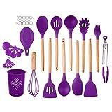 Denpetec Kitchen Utensils Set,23pcs/Set Kitchen Utensil Cooking Tools Heat Resistant Wooden Handle Egg Beater,Heat Resistant Silicone Kitchen Gadgets(Purple)