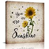 Victories Canvas Painting Wall Decor-You are My Sunshine BEE Rustic Vintage Background,Wall Art Print Paintings for Home/Living Room/Bedroom Decor Single Panel 12x12Inches