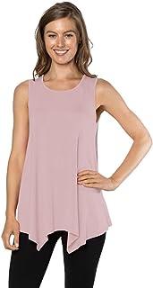 Velucci Womens Tunic Tank Top T-Shirt - Loose Basic Sleeveless Tee Shirt Blouse