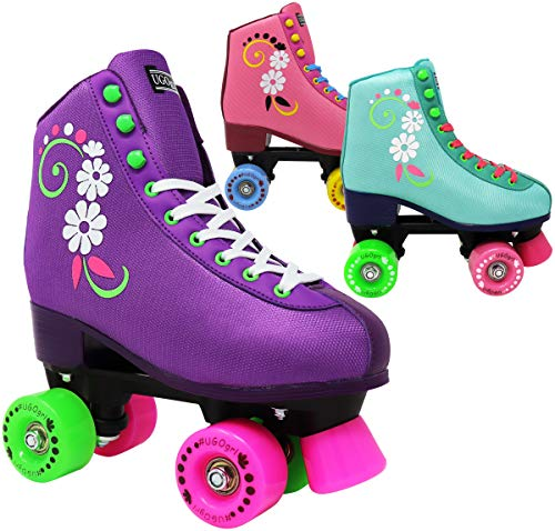 Image of Lenexa uGOgrl Roller Skates for Girls - Kids Quad Roller Skate - Indoor, Outdoor, Derby Children's Skate - Rollerskates Made for Kids - Great Youth Skate for Beginners (Purple, 6)