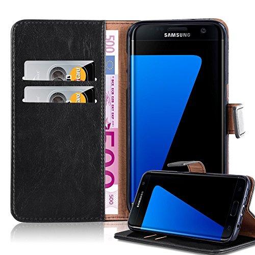 Cadorabo Funda Libro para Samsung Galaxy S7 Edge en Negro Grafito - Cubierta Proteccíon con Cierre Magnético, Tarjetero y Función de Suporte - Etui Case Cover Carcasa