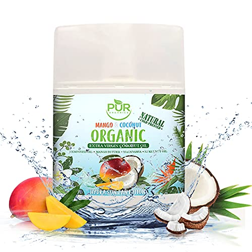 PUR ORGANICS Tropical Exotic Natural Indoor/Outdoor Sun Tan Lotion with Organic Cold Pressed | Coconut oil | Hempseed…