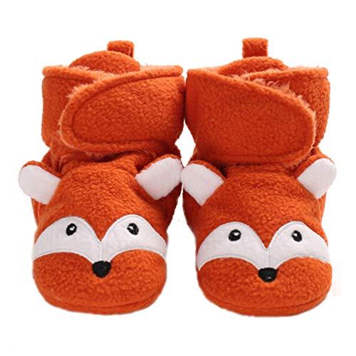 EDOTON Unisex Neugeborene Tier Schuhe,Süß rutschfest Sohle Weich Winter Warm Haus Innen Ausdruck Stiefel zum Baby Jungs Mädchen (0-6 Monate, Orange A)