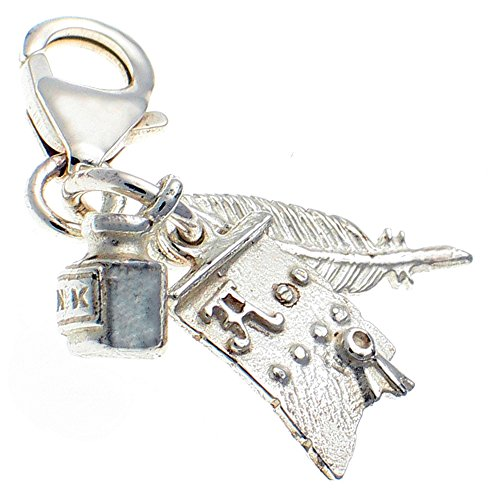 Welded Bliss Sterling 925 Silver 3 Part Writer's Clip On Charm, Quill, Ink Pot & Scroll. WBC1472
