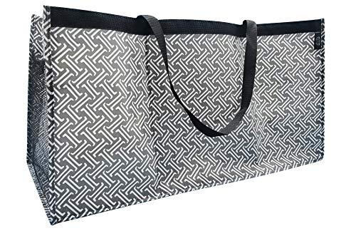 Reusable Trunkster Grocery Shopping Tote, Durable, Foldable, Lightweight, Washable, 3 Compartment, Matchstick Dk. Grey