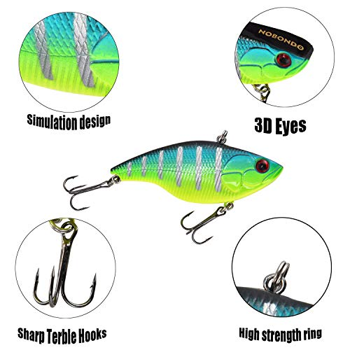 NOBONDO 10 PCS Lipless Crankbait Fishing Lures for Saltwater Freshwater with Portable Bag - 3/5 OZ VIB Lures with 3D Eyes, Sinking Vibe Crank Baits Swimbaits Minnow for Bass Trout Catfish Pike Walleye