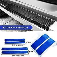 車ステッカー ユニバーサル4本のために車ステッカーアクセサリー3Dカーボンファイバースカッフプレートオートドアエッジシルプロテクターアンチスクラッチガードストリップ (Color Name : Blue)