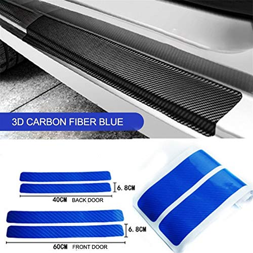 N\A Car Sticker Universal 4pcs For Car Stickers Accessories 3D Carbon Fiber Scuff Plate Auto Door Edge Sill Strips Protector Anti Scratch Guards Stickers for Car (Color Name : Blue)