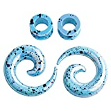 TBOSEN Juego de 4 piezas de dilatadores de espiral acrílicos para orejas de color azul claro con dilatador de dilatación, calibres de 12 g (2 mm) – 1/2' (12,5 mm)
