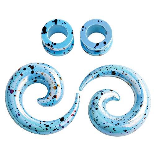 "TBOSEN Juego de 4 piezas de dilatadores de espiral acrílicos para orejas de color azul claro con dilatador de dilatación, calibres de 12 g (2 mm) – 1/2"" (12,5 mm)"