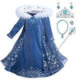 YOSICIL Mädchen Die Eiskönigin ELSA Kostüm mit Umhang Schneeflocken Kleid mit Plüschkragen...