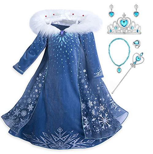 YOSICIL Mädchen Die Eiskönigin ELSA Kostüm mit Umhang Schneeflocken Kleid mit Plüschkragen Kinder Prinzessin Kleid Karnevalskostüm Party Cosplay Fasching Halloween Weihnachtsfeier Kostüm Blau
