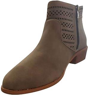 Bottine Femmes Clou - SANFASHION Chelsea Boots Ladies Fashion Casual Bottes Vintage à Bout Rond,Bottines Courtes Chaussure...