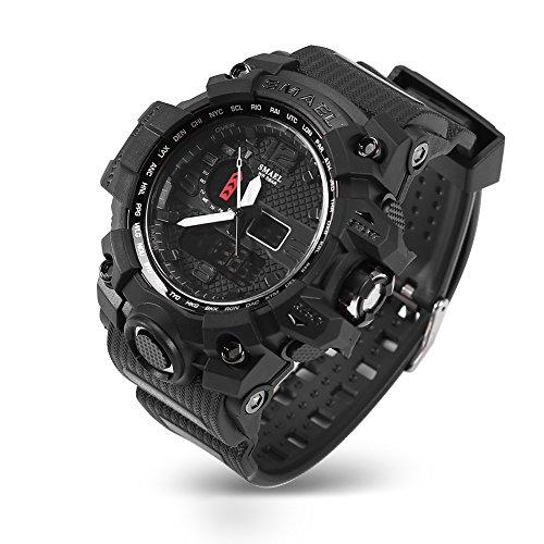 Reloj electrónico Deportivo para Hombres, Reloj Deportivo Multifuncional Impermeable para Exteriores con Doble Pantalla(Negro)
