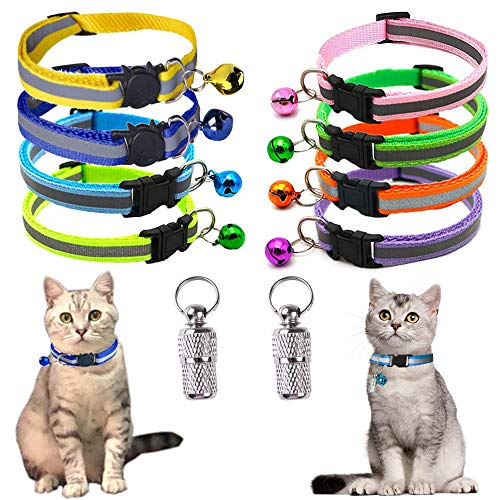 YOUYIKE® Collar Reflectante Gatos,8 Pack Collares para Gatos con Cascabeles y Hebilla Seguro- Collar Gato Reflectante Ajustable -2 Colgantes ,Ajustable para Adaptarse a Todos Los Gatos Domésticos
