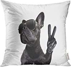 Emvency Throw Pillow Covers Cases Cool Posing French Bulldog with Sunglasses Looking Up Like Model with Peace Victory Print Decorative Pillowcases 18x18(45cmX45cm) Case Cushion Cover for Bed Couch