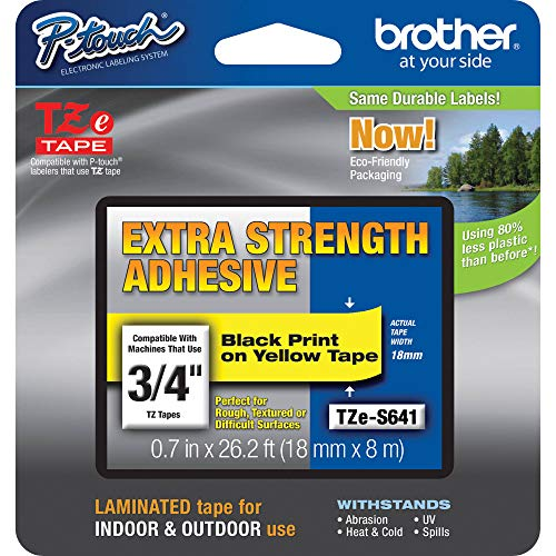"""Brother Genuine P-touch TZE-S641 Tape, 3/4"""" (0.7"""") Wide Extra-Strength Adhesive Laminated Tape, Black on Yellow, Laminated for Indoor or Outdoor Use, Water-Resistant,0.7"""" x 26.2' (18mm x 8M), TZES641"""