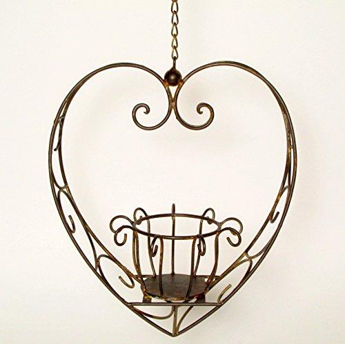 Posiwio Herz mit Korb zum Hängen und bepflanzen, Metall, 32 x 19 x 36 cm