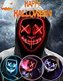 Halloween Led Light Up Mask, Purge Mask, Scary Mask Cosplay Led Costume Mask for Kids, Men & Women with EL Wire Light up for Halloween, Festival Party, Masquerade, Carnival Red