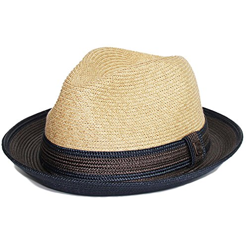 DASMARCA Benson Natural Two Tone Summer Tressé Fedora Hat - S