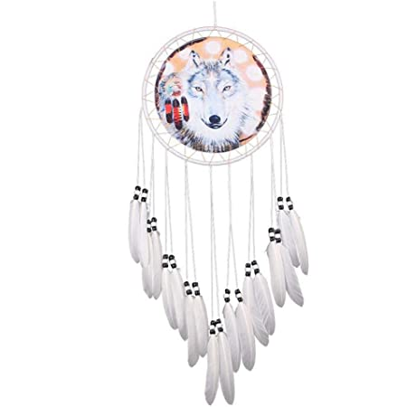 Ebros Large 12 Diameter Triple Goddess Triskele Trinity Celtic Alpha Wolf Round Dreamcatcher With Feathers Wall Hanging Decor Accent Dream Catcher Decoration Hanger For Home And Office Talisman Home Kitchen