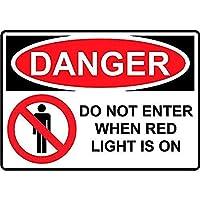 赤色灯が点灯しているときは危険が入らない 金属板ブリキ看板警告サイン注意サイン表示パネル情報サイン金属安全サイン