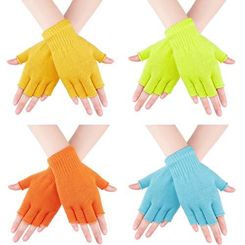 4 Pares de Guantes sin Dedos Guantes de Mitad de Dedos Guantes de Punto de Color Sólido para Niños y Niñas (Amarillo, Naranja, Azul, Amarillo Fluorescente)