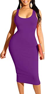 Mizoci Women's Basic Casual Midi Tank Dresses Sexy Sleeveless Square Neck Bodycon Club Dress