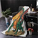 Luoiaax Dragon Bedding Flannel Blanket Mythical Fire Spitting Monster Dreamy Mascot Reptilian Culture Cartoon Super Soft and Comfortable Luxury Bed Blanket W57 x L74 Inch Dark Orange Hunter Green