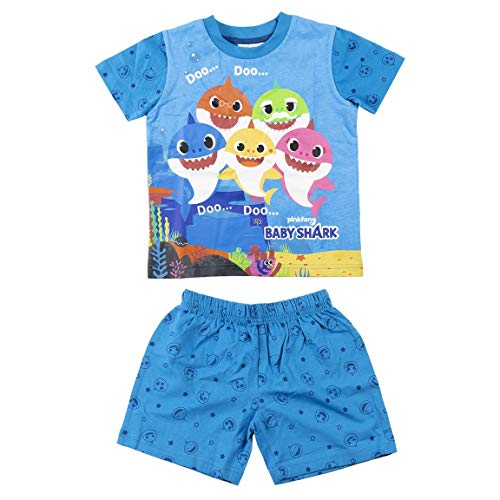 Characters Cartoons Pinkfong Baby Shark – Pijama completo para niña – Conjunto de camiseta y pantalón – Primavera Verano – Producto original 7296 Azul 18 meses
