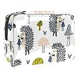 Bolsa de tocador de Viaje Seta Animal Erizo portátil PVC Bolsa de cosméticos de Vistoso de Organizador de Maquillaje con Cremallera Apto para niñas 18.5x7.5x13cm