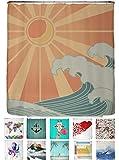 arteneur® - Welle - Anti-Schimmel Duschvorhang 180x200 mit Öko-Tex Standard 100 - Beschwerter Saum, Blickdicht, Wasserdicht, Waschbar, 12 Ringe und E-Book