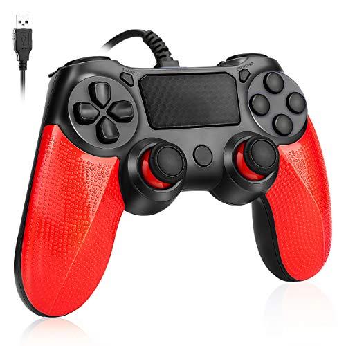 Powcan Manette PS4 Manette Filaire pour Playstation 4 Dual Vibration Shock Joystick Gamepad pour PS4 / PS4 Slim / PS4 Pro et (Win 7/8/10) avec câble USB 2M (Rouge)