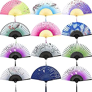 Chuangdi 12 Pieces Hand Held Fans Silk Bamboo Folding Fans Flower Printed Fans Handheld Folded Dance Fans for Wedding Gift Party Favors (Cherry Blossom Pattern)