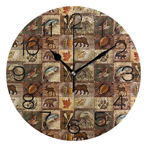 LORONA Horloge Murale Native Impression Ronde silencieuse sans coutil à Piles précis Belle décorative pour Cuisine Salon Chambre Bureau (10 Pouces)