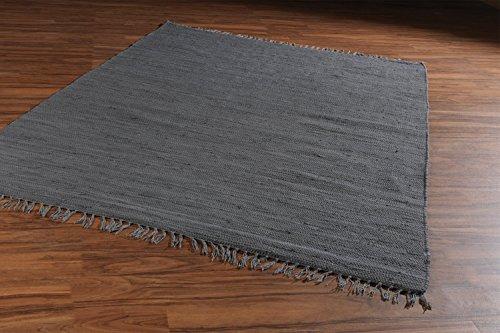 Home4You Flickenteppich Wohnzimmerteppich Handwebteppich Dunkelgrau | 80x250 cm | Grau | Baumwolle