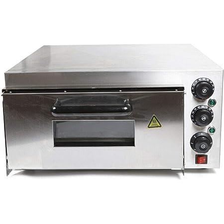 Horno eléctrico para pizza de 1 cámara, de acero inoxidable, para horno de pizza, temperatura de hasta 300 °C, para pizza, pan y repostería (2000 W)