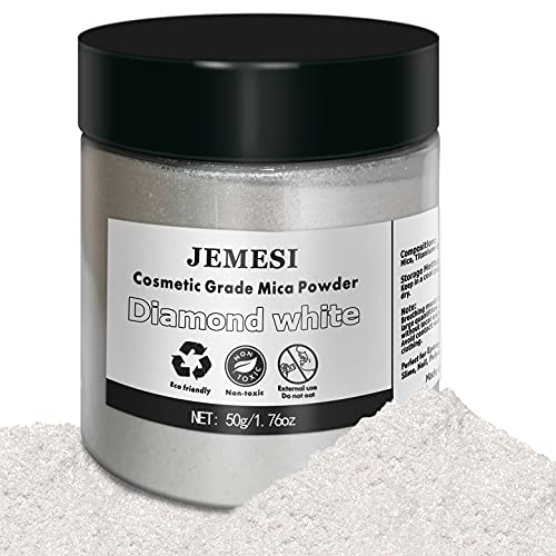 JEMESI Epoxidharz Farbe, 50g Mica Pulver Pigmente Epoxidharz für Kunstharz Gießharz Kerze Kosmetischer Lidschatten Nagellack (Diamantweiß