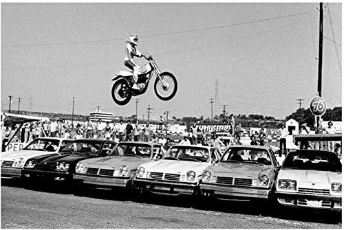 VGSD Evel Knievel Overflew Six Cars Stunt Sports Poster Art Decoración De La Pared Impresión En Lienzo Familiares Y Amigos -50X75Cm