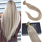 Sunny Flat Tip Fusion Hair Extensions 16inch Golden Blonde with Blonde Highlights Keratin Fusion Human Hair Extensions 16inch 1g/strand 50G