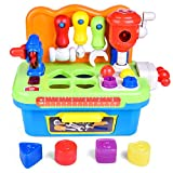FUN LITTLE TOYS Workbench and Construction Toy Tool Kit with Sound and Music, Activity Center for Kids with Shape Sorter