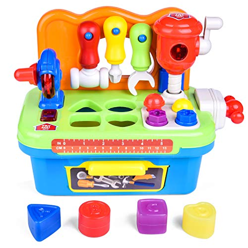 FUN LITTLE TOYS Workbench and Construction Toy Tool Kit with Sound and Music, Baby Tool Set with Shape Sorter