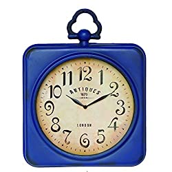 NIKKY HOME Retro Metal Square Wall Clock with Top Handle Blue 13.75 X 2.75 X 17.5 Inch