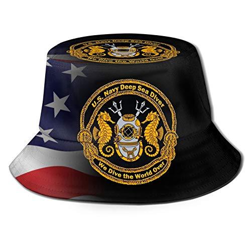 Navy Deep Sea Diver Emblem Bucket Hat Unisex Sun Hat Summer Packable Fisherman Hats