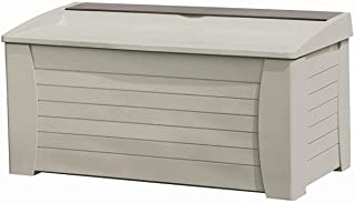 Suncast Resin 127 Gallon Large Patio Storage Box - Outdoor Bin Stores Tools, Accessories and Toys - Store Items on Deck, Patio, Backyard - Taupe