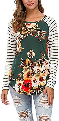 SLYZ Manga Raglán A Rayas con Estampado De Cuello Redondo De Primavera para Mujer Jersey Delgado De Manga Larga Camiseta para Mujer