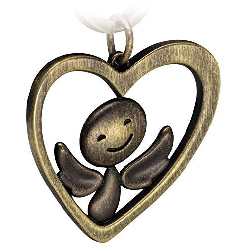 FABACH Schutzengel Schlüsselanhänger Furfur im Herz - Edler Engel Anhänger aus Metall in antiker Bronze - Geschenk Glücksbringer Auto Führerschein - Fahr vorsichtig